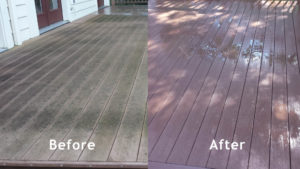 Before and After Composite decking Pressure washed