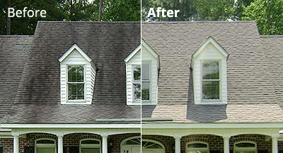 Amazing Roof Washing Before And After · Roof Cleaning Examples